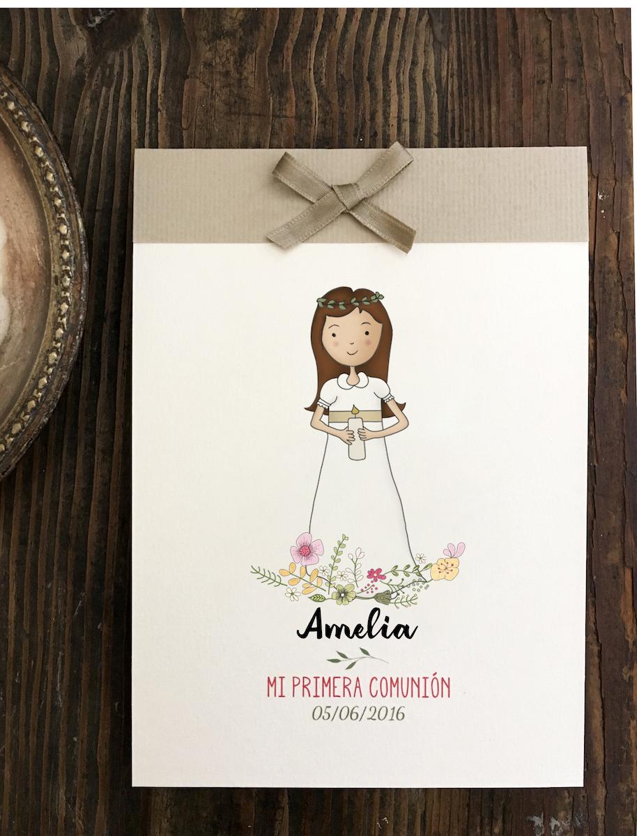 recordatorio comunión niña artesano personalizado