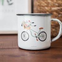 Taza metal esmaltado bicicleta
