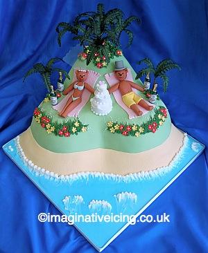 Tropical Island Wedding Bears Wedding Cake Imaginative
