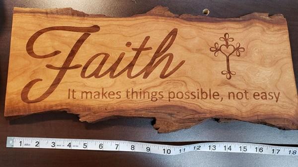Faith Sign Cherry Live Edge