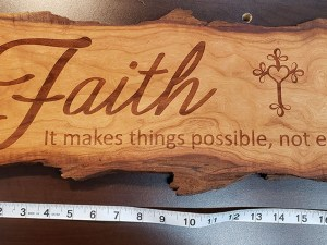 Faith Sign Cherry Live Edge