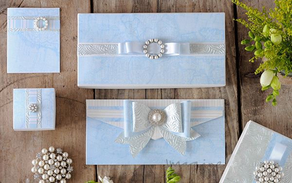 Idea to make your own blue and white wedding stationery with pearls. Pretty DIY wedding stationery. Paper craft supplies from Imagine DIY