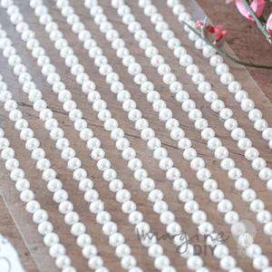 rows of self adhesive pearls. 4mm stick on pearl rows. DIY wedding stationery supplies