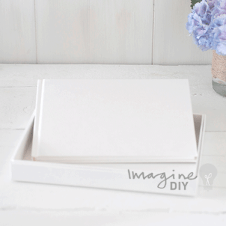 White blank guest book to decorate yourself. Make your own wedding guest book. DIY wedding stationery supplies