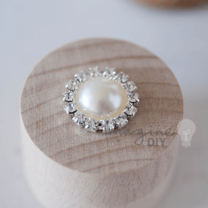 Pearl and Crystal Round, Small round pearl embellishment with crystal border. Pretty DIY wedding stationery supplies