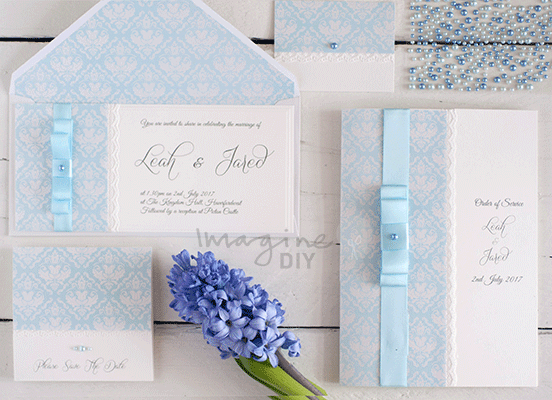Idea to make your own wedding stationery in pale blue and white . DIY spring summer wedding stationery ideas. DIY wedding stationery supplies