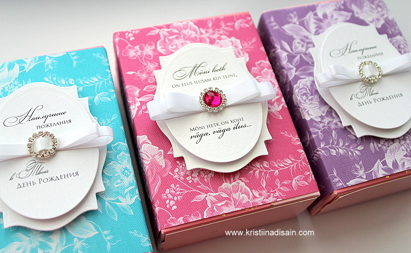 floral favour boxes made by Kristiina Disain. Winner of Imagine DIY's wedding stationery designing competition October 2015