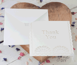 Laser cut thank you card. Blank laser cut thank you card and envelope