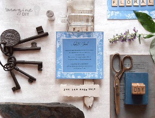 Simple DIY wedding invitation idea. Blue and white invitation with floral details. Elegant wedding stationery to make yourself.