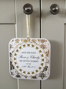 DIY competition winner april 2016 Leanne Griffiths save the date gold luster chevron
