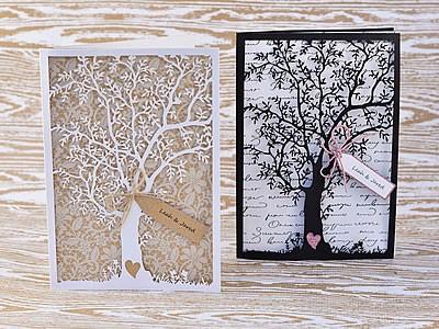 Prosperity DIY Wedding Tree Invitation in white and black designs.