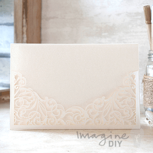 Filigree ivory laser cut invitation pocket. DIY wedding stationery and invites. Wallet invitation with laser cut pattern. DIY. Make your own. Wedding supplies