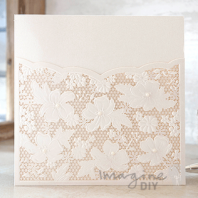 Lace Invitation With Pearls Blank Laser Cut Pocket DIY Wedding Stationery Supplies