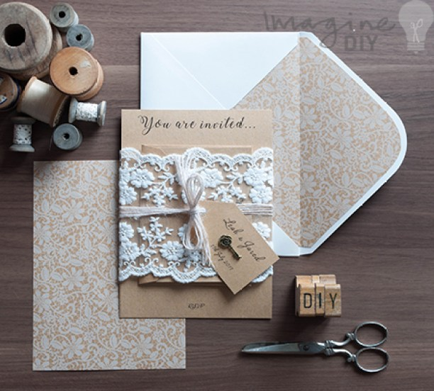 How To Make...Rustic Kraft And Lace Wedding Invitations