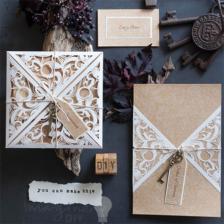 make rustic laser cut wedding stationery