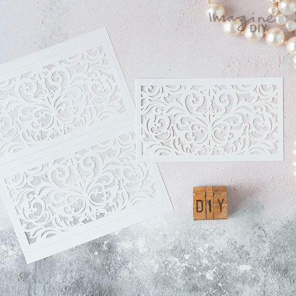 Lucy white laser cut panels imagine diy white laser cut invitation panels diy laser cut invitation supplies blank laser cut wedding stopboris Gallery