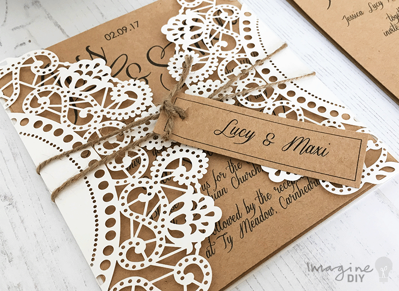 Make Rustic Kraft and Laser Cut Invitation with Tag DIY laser cut invitation. Make your own laser cut wedding invitation with personalised tag