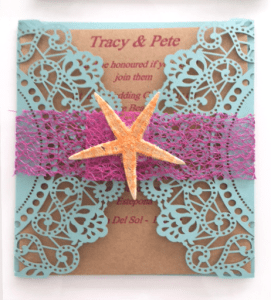 DIY wedding invitations with starfish