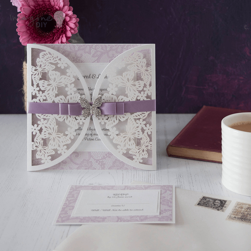 How to Make - Pretty Butterfly Lace Wedding Stationery - Imagine DIY