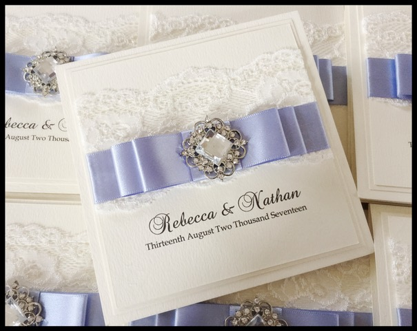 Lilac and ivory wedding invitation with crystal emebllishment