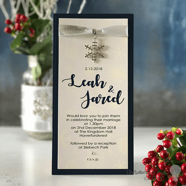 How To Make Your Own Winter Wedding Invitation DIY With Snowflake In Navy