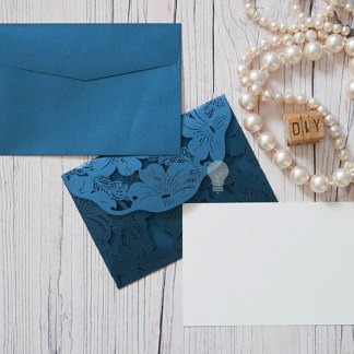 Lily laser cut invitation in navy with insert and envelope. Navy envelope. DIY wedding stationery supplies