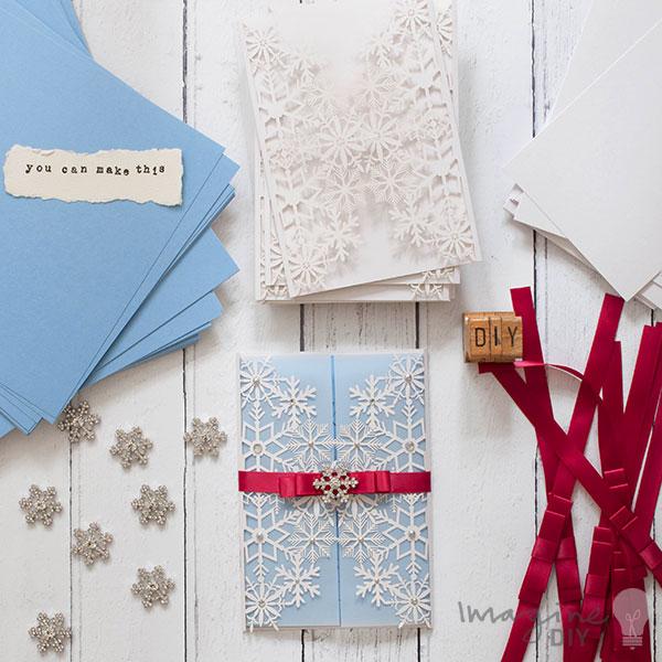 Winter wedding ideas how to makeom imagine diys wedding hub make your own snowflake theme wedding invitations with blank laser cut invites diy wedding stationery solutioingenieria Choice Image