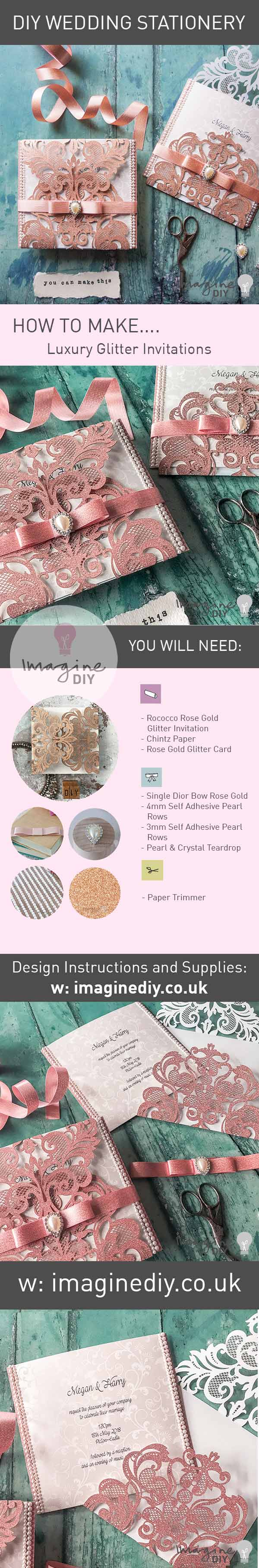 How to make your own luxury glitter wedding invitations with pearls. DIY wedding stationery supplies and instructions