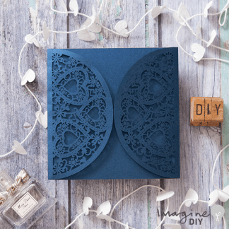 romantique laser cut range in navy. Blank laser cut invitation with hearts. DIY wedding stationery supplies UK