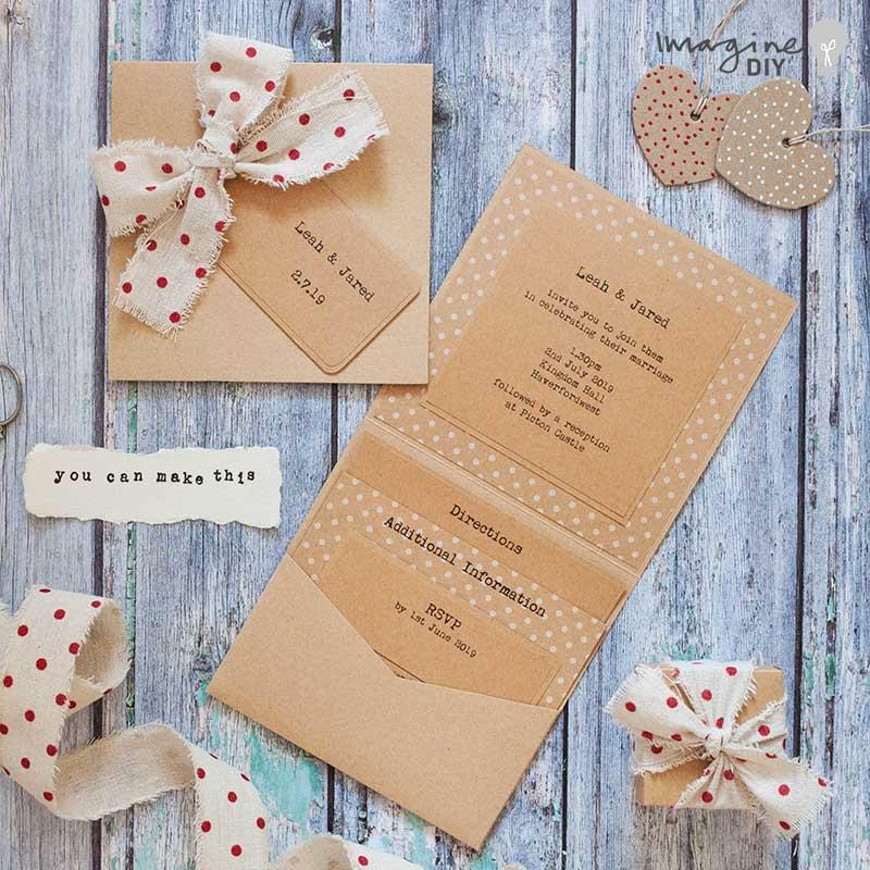 DIY wedding invitation ideas. Rustic wedding stationery. DIY polka dot wedding invitations.