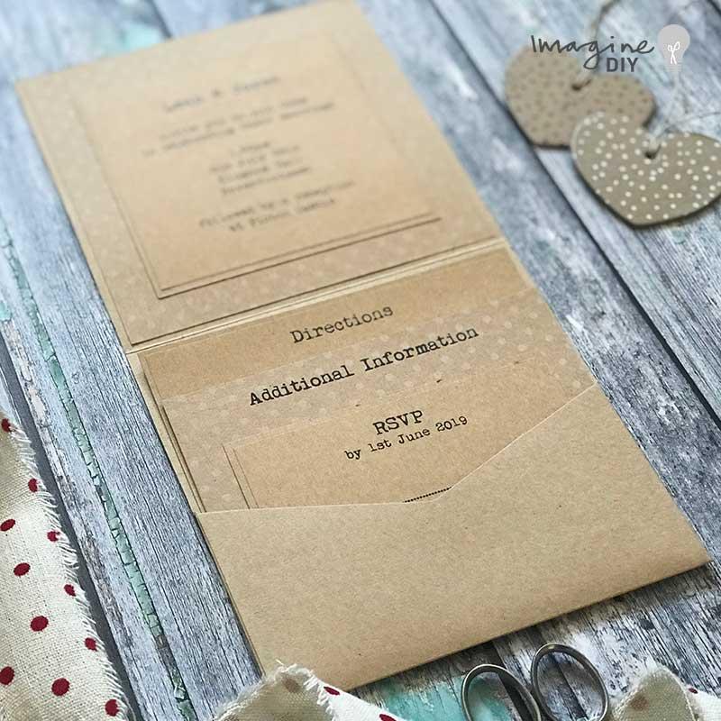 pocket invitation to make yourself. Blank invitation with pocket for inserts. DIY wedding stationery supplies. Rustic pocket invitation.