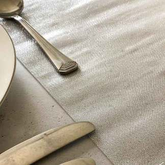 silver Lucente table runner by vivant. Metallic silver table runner. Sheer table runner, organza table runner, metallic organza, wedding venue styling, table decoration