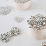 Crystal Embellishments for wedding invitations and save the date cards.
