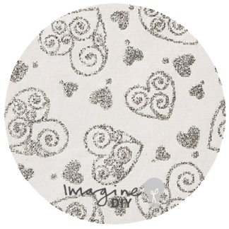 Recycled cotton paper in white with silver glitter scroll hearts, Heart pattern paper,, glitter patterned paper, DIY wedding stationery and craft supplies. Decorative paper for DIY wedding invitations. White and Silver paper