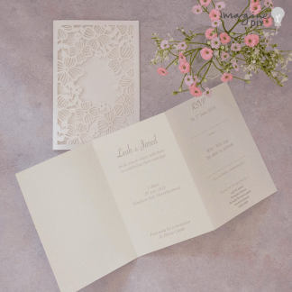 Blank laser cut invitation sets. Make your own wedding invitations. Laser cut invitations with flowers and cut out. Lilac and white wedding. DIY wedding stationery. Printable invitation sets.