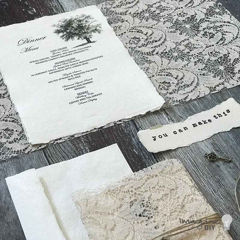 Lace wedding invitation with image of a tree. DIY wedding invitations. Design guide and instructions available from imagine DIY. Rustic wedding invitations made with handmade paper and lace. How to make your own wedding stationery. Natural wedding invitations