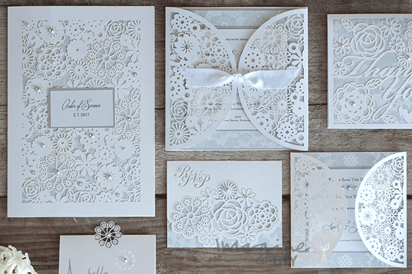 Beautiful DIY Rita Laser Cut Wedding Stationery DIY laser cut wedding stationery to make yourself. Laser cut wedding stationery with lace details