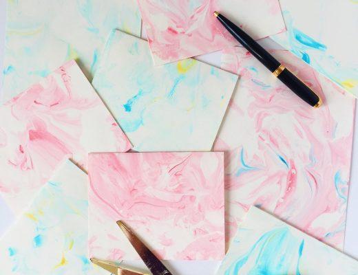 Fun DIY Marbled Paper Using Shaving Cream and Food Dye