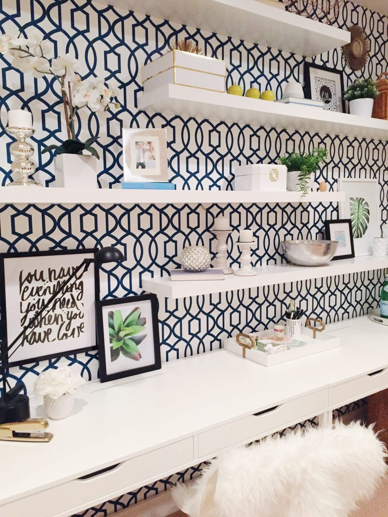 Peel-and-stick-wallpaper-wall-pops-shelving-ikea-shelves-navy-blue