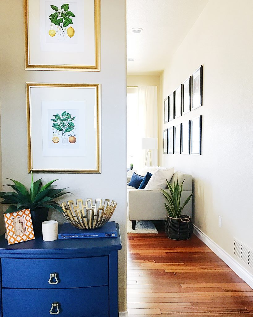 Spring Home Inspiration: Decorating with Navy Blue-navy-cabinet-entryway-botanical-prints