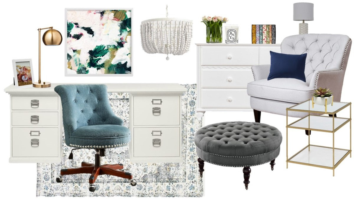 Mood Board Monday - A Feminine Home Office and Getaway Space