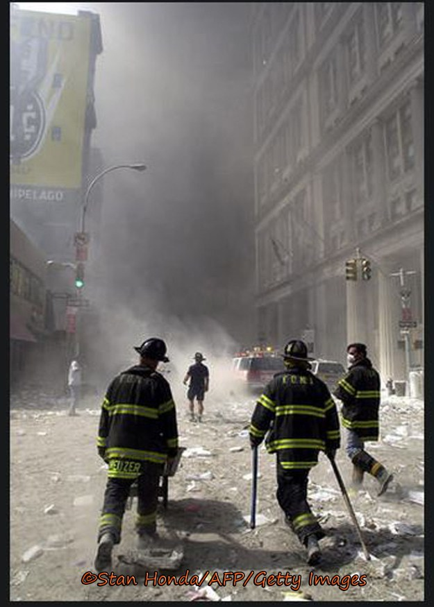 Unlike most normal citizens, the New York City firefighters were making their way back towards the smoldering ruins