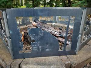 bear metal art fire pit ring