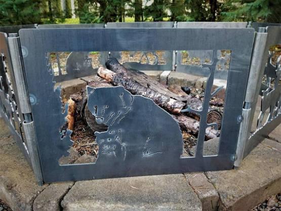 bear metal art fire pit ring