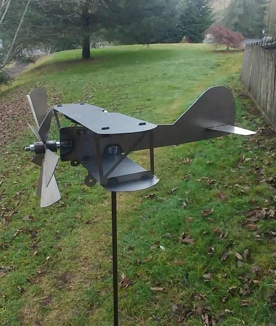 Biplane Wind Spinner | Airplane Yard Spinner | Garden Decor | Kinetic Metal  Art | Wind Sculpture