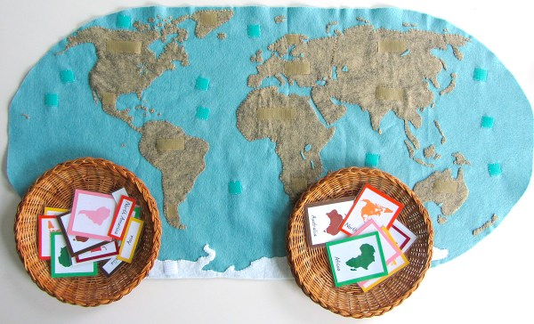 Montessori Continents Map Quietbook with 3Part Cards