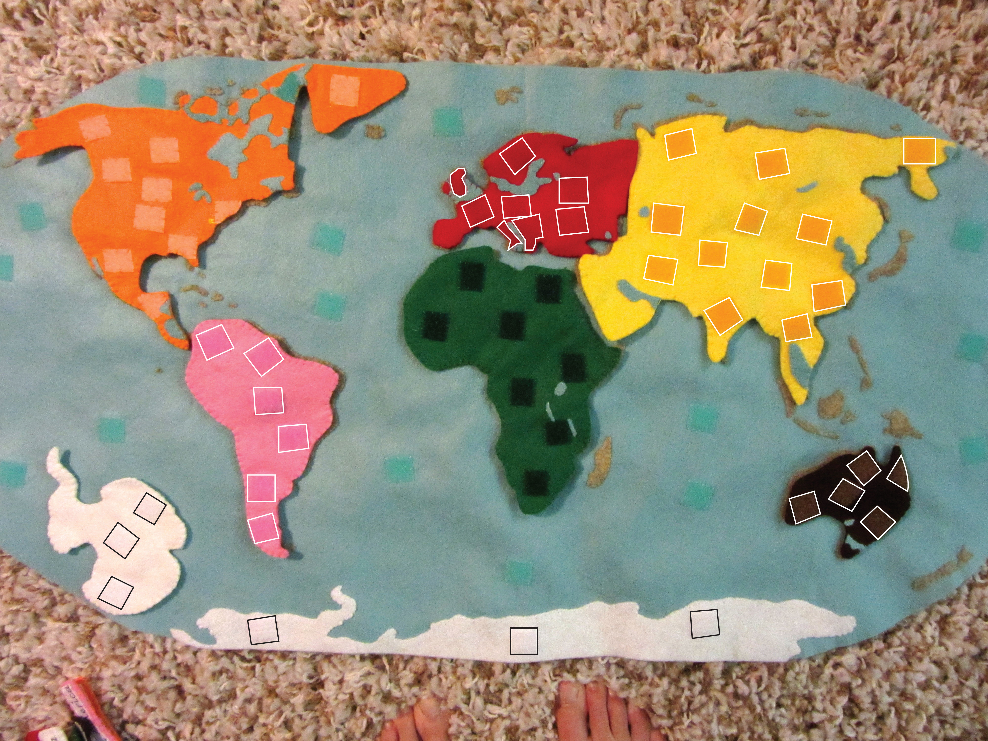Montessori Continents Map Amp Quietbook With 3 Part Cards