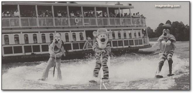 Pluto, Tigger and Goofy skiing at Walt Disney World in 1999.