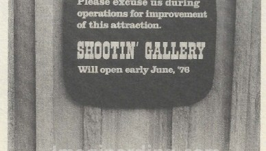 Frontierland Shooting Gallery Refurbishment Sign