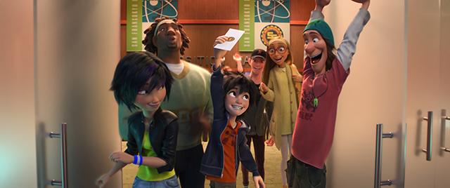 """BIG HERO 6"" Pictured (L-R): GoGo Tomago, Wasabi, Hiro, Tadashi, Honey Lemon, Fred. ©2014 Disney. All Rights Reserved."